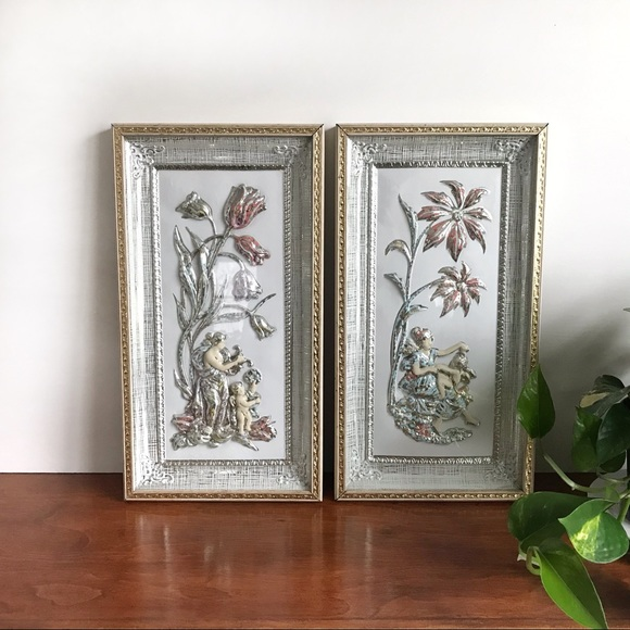 Pair Mid Century Floral Wall Art Spring and Winter